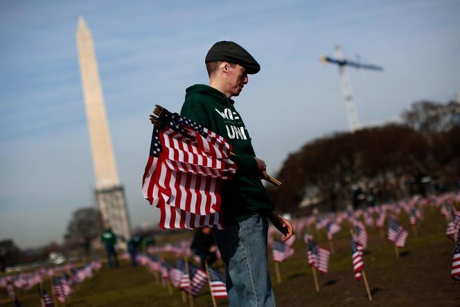 Lors d'une cérémonie en hommage aux victimes américaines en Irak et en Afghanistan, le 27 mars 2014.