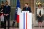 Emmanuel Macron s'exprime lors de la traditionnelle réception en l'honneur des forces armées, à l'hôtel de Brienne à Paris, le 13 juillet.