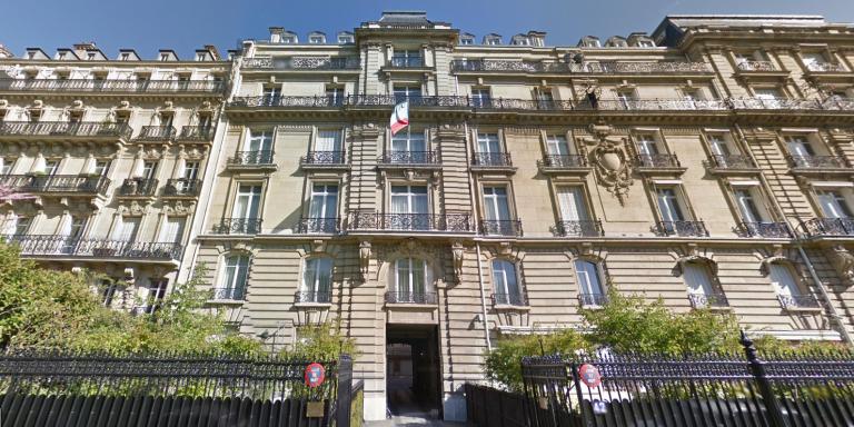 L'ambassade de Guinée équatoriale au 42, avenue Foch, à Paris. Avant d'être déclarée ambassade, l'hôtel particulier était la propriété personnelle de Téodorin Obiang.