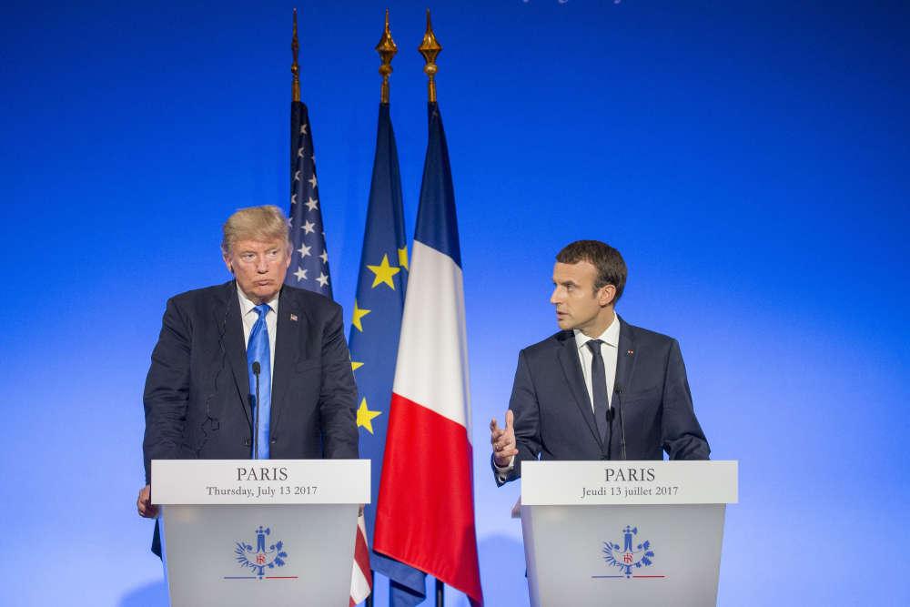 Conférence de presse d'Emmanuel Macron, président de la République française et de Donald Trump, président des Etats-Unis au palais de l'Elysée à Paris, jeudi 13 juillet.