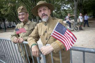 A l'occasion du centenaire de l'entrée de l'armée américaine dans la première guerre mondiale, la France avait invité des représentants de l'armée américaine à défiler aux côtés de l'armée française.