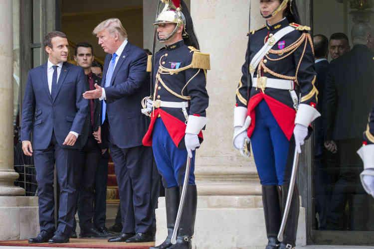 Emmanuel Macron a reçu Donald Trump au palais de l'Elysée à Paris, jeudi 13 juillet.
