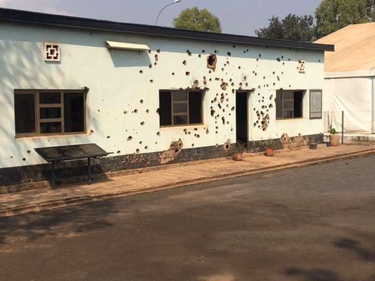Le camp où dix soldats belges de l'ONU ont été tués le 7 avril 1994, à Kigali, au Rwanda.