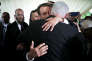 French President Emmanuel Macron embraces Israeli Prime Minister Benjamin Netanyahu after a ceremony commemorating the 75th anniversary of the Vel d'Hiv roundup, in Paris, France, July 16, 2017. REUTERS/Kamil Zihnioglu/Pool