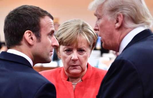 Emmanuel Macron, Angela Merkel et Donald Trump, le 7 juillet à Hambourg.