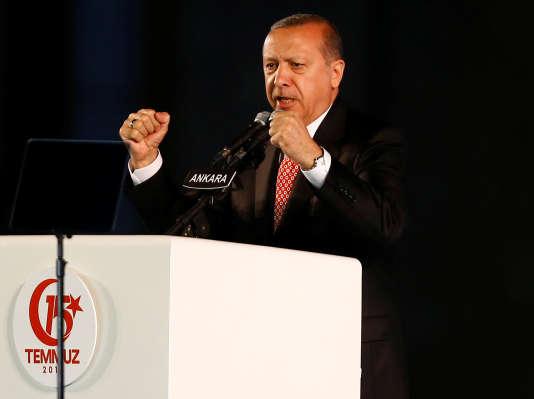 Le président turc, Recep Tayyip Erdogan, à Ankara, le 16 juillet.
