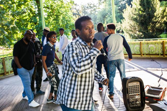 Concert des Soudan Célestins Music, dans le parc des Bourrins, à Vichy, pour la soirée du 14-Juillet.