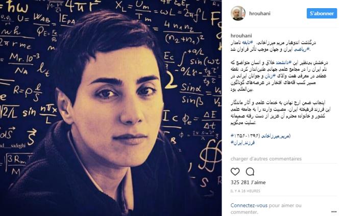 Photo de Maryam Mirzakhanipubliée par le président iranien Hassan Rohani sur son compte Instagram, le 15 juillet.