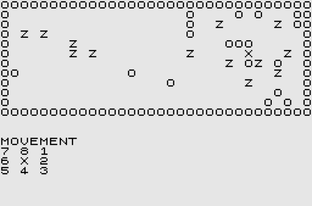 Les premiers jeux de zombies n'ont pas les moyens d'évoquer les univers de George Romero avec précision. Ici, «Zombies«, sur ZX81, et ses lettres« Z» pour désigner les morts-vivants.