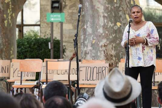 L'ancienne garde des sceaux Christiane Taubira, sur scène après le spectacle «On aura tout», au festival d'Avignon, le 8 juillet.