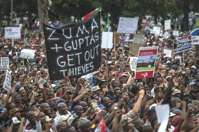 Lors d'une manifestation dénonçant la corruption en Afrique du Sud, le 7avril 2017, à Pretoria.