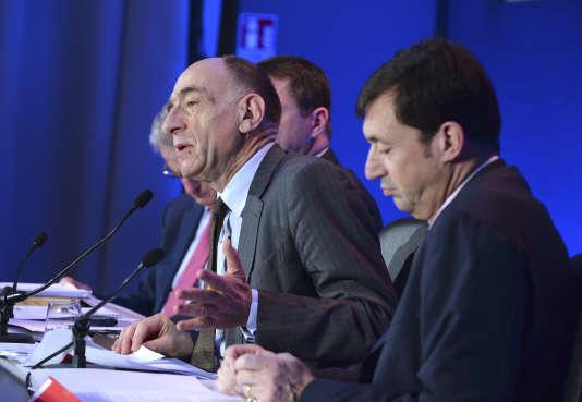 Jean-Marc Janaillac, PDG d'Air France-KLM, lors d'une conférence de presse à Paris, le 16 février.