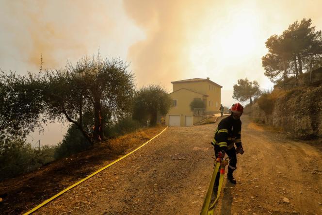 Plus de deux cent trente pompiers étaient mobilisés lundi soir à Castagniers, au nord de Nice.