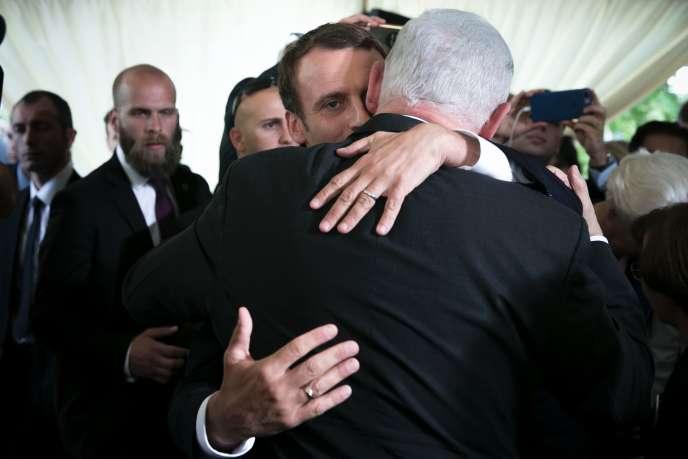 Le président Emmanuel Macron et le premier ministre israélien Benyamin Nétanyahou, lors de la commémoration du Vél d'Hiv, à Paris le 16 juillet.