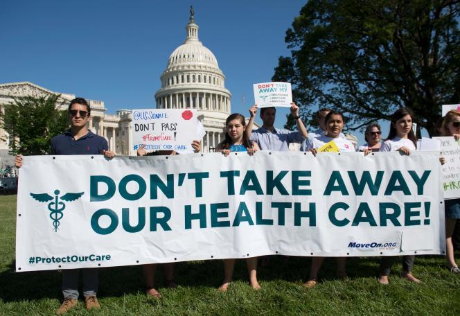 Manifestation devant le Capitole, à Washington, le 17 juillet 2017.