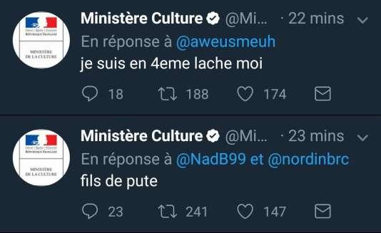 Deux des messages publiés cette nuit sur le compte du ministère de la culture.