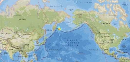 Capture d'écran du site de l'USGS précisant la localisation de l'épicentre du séisme de magnitude 7,8 survenu au large de la Russie, le 18 juillet.