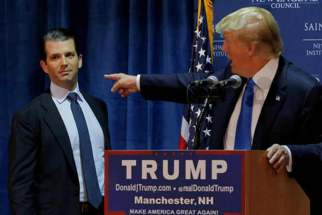 Donald Trump et son fils aîné, Donald Trump Jr., en novembre 2015.