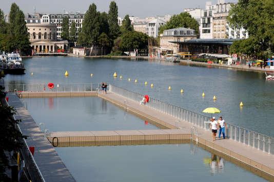 Le bassin de la Villette avant son ouverture au public, le 18 juillet 2017.