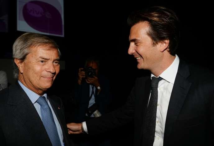 Vincent, président du conseil de surveillance de Vivendi,et Yannick Bolloré, le PDG de Havas,à Paris, le 21 avril 2016.
