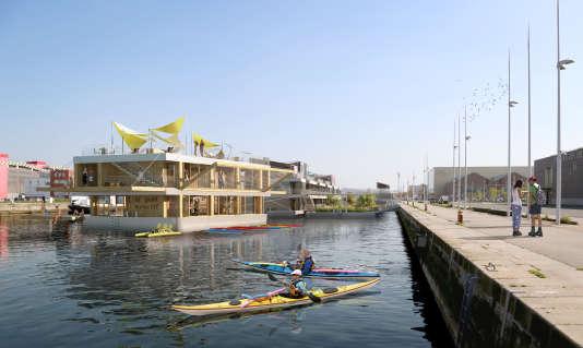 «Le Petit Sportif», l'une des quatre barges imaginées par la jeune entreprise Barges et Berges, qui permuteront entre le port de Tolbiac à Paris et celui du bassin de la Vatine au Havre, au gré des saisons. Sur les trois autres, il sera possible d'habiter, de travailler, de créer.