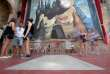 Visitors walk around Salvador Dali's tomb inside the Teatre-Museu Dali (Theatre-Museum Dali) in Figueras on July 18, 2017 ahead of the exhumation of the artist's remains. The remains of the world-famous surrealist, who is buried in his museum in Figueras, in northeastern Spain, were ordered exhumed after a woman who claims to be his daughter filed a paternity claim.
