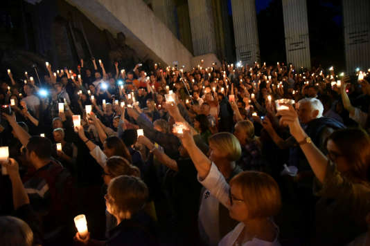 Manifestation devantla Cour suprême,à Varsovie, le 16 juillet.