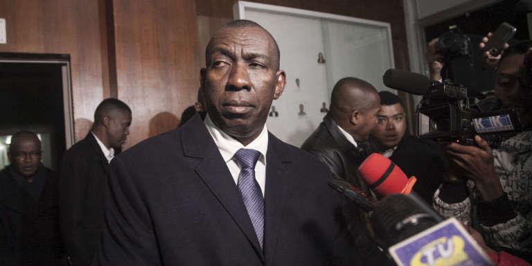 Le premier ministre et ministre de l'intérieur Olivier Mahafaly le 26 juin 2016, jour de la fête de l'Indépendance après l'attentat à la bombe au stade de Mahamasina qui avait fait deux morts et 84 blessés.