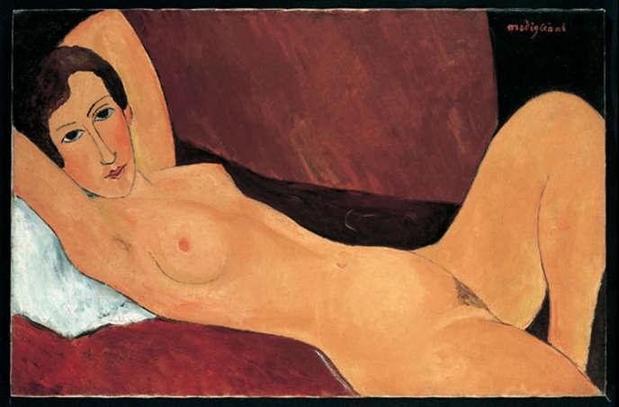 « Grande figura nua deitada - Céline Howard, 1918 », tableau faussement attribué à Amedeo Modigliani, exposé au Palais ducal de Gênes (Italie).