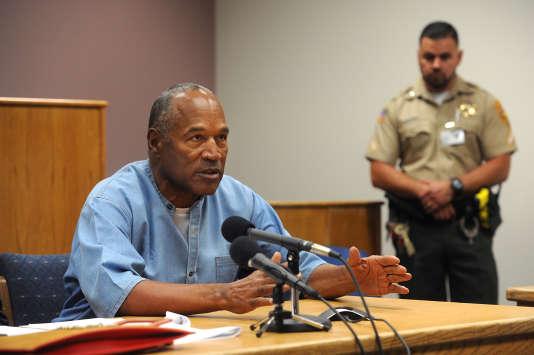 O.J. Simpson témoigne par visioconférence depuis la prison de Lovelock (Nevada), le 20 juillet.