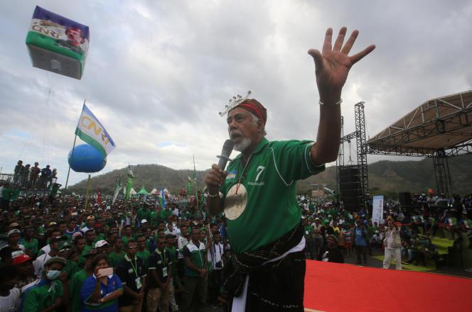 L'ancien présidentXanana Gusmao lors d'un meeting du CNRT (Congrès national de reconstruction timoraise), le parti de la résistance, à Dili, capitale du Timor-Oriental, le 18 juillet 2017.