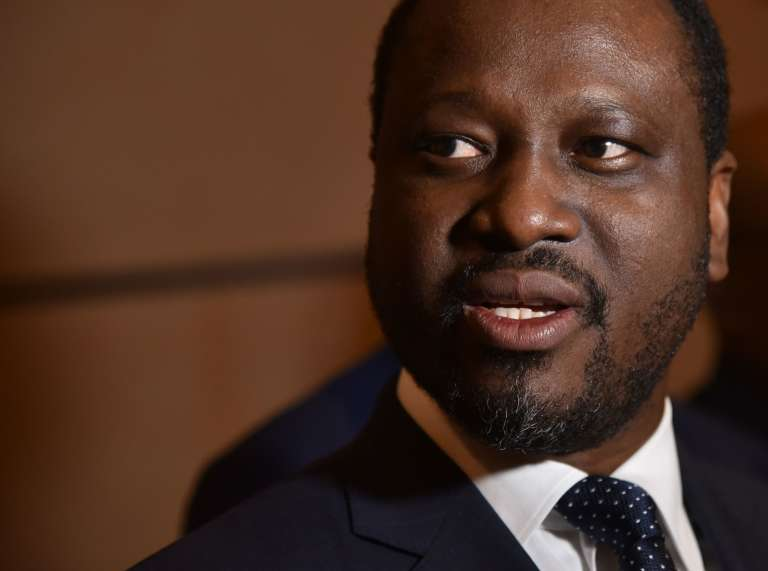 Guillaume Soro, président de l'Assemblée nationale, devant la presse le 20 juillet 2017, à l'aéroport Félix-Houphouët-Boigny à Abidjan.