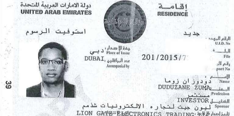 Le permis de résidence à Dubaï de Duduzane Zuma, qui figure dans les« GuptaLeaks».