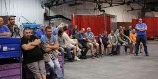 Assemblée générale des employés de GM & S, à La Souterraine (Creuse), le 12 juillet.