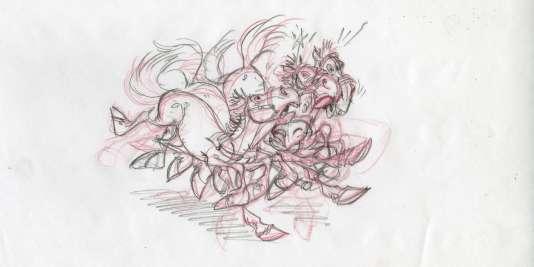 Un dessin préparatoire de Didier Conrad pour « Astérix et la Transitalique».