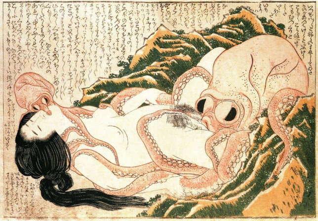 «Tako to ama», plus connu en France sous le nom «LeRêve de la femme du pêcheur», a inspiré le thème des tentacules dans les«erogê», lesjeux pornographiques japonais.