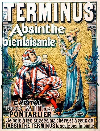Cette affiche publicitaire, datant d'environ 1895, fait partie de la collection du musée de l'Absinthe.