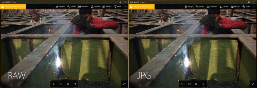 La même image d'un chantier naval à Dhaka, en RAW et en JPEG, ouverte avec la visionneuse photo de Windows10 (Canon5Dmk2).