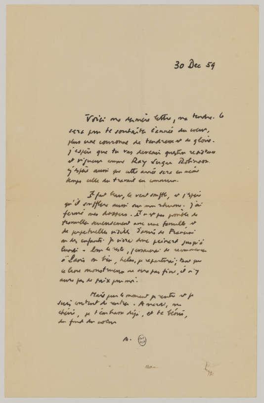 La dernière lettre d'Albert Camus (reproduction interdite).