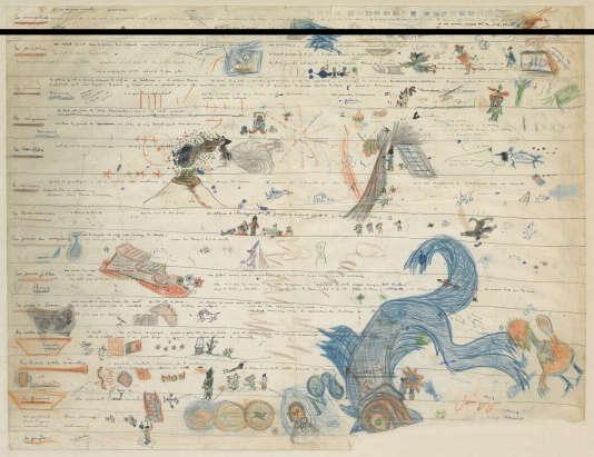 La planche scénaristique de Jacques Prévert pour « Les Visiteurs du soir», de Marcel Carné.
