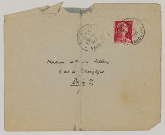 L'enveloppe de la dernière lettre d'Albert Camus.