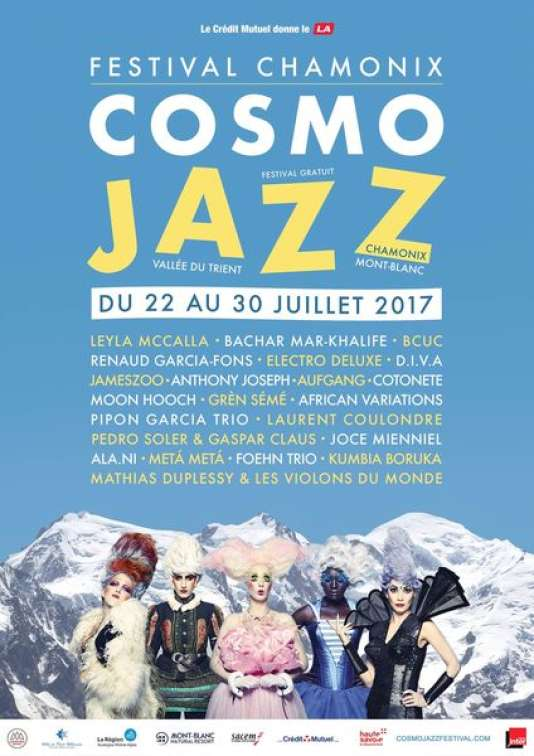 Affiche duCosmo Jazz Festival, à Chamonix (Haute-Savoie), jusqu'au 30 juillet.