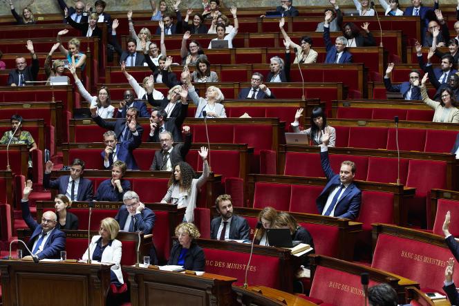 Vote des députés LRM, lors de l'examen de la Loi travail à l'Assemblée nationale, le 10 juillet.