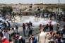 Heurts entre la police israélienne et les Palestiniens musulmans venus prier aux abords de l'esplanade des Mosquées, à Jérusalem (Israël) le 21 juillet.