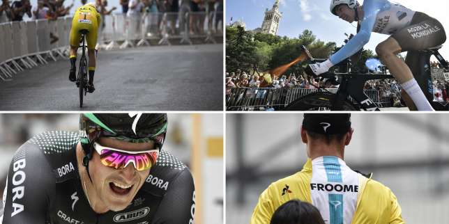 A combination of pictures shows (From L, Up to bottom) Great Britain's Christopher Froome wearing the overall leader's yellow jersey riding ; France's Romain Bardet riding past the Notre-Dame de la Garde basilica (L) ; Poland's Maciej Bodnar crossing the finish line ; a hostess zipping up the overall leader yellow jersey on Great Britain's Christopher Froome celebrating on the podium ; as part of a 22,5 km individual time-trial, the twentieth stage of the 104th edition of the Tour de France cycling race on July 22, 2017 in and around Marseille, southern France.  / AFP / Jeff PACHOUD AND Lionel BONAVENTURE AND Philippe LOPEZ