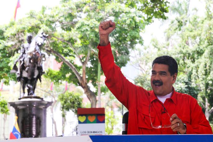 Le président venezuelien Maduro s'exprime lors de son émission hebdomadaire à la télévision.