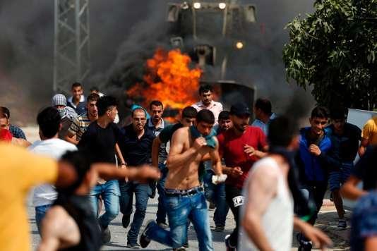 Heurts à Khobar, à l'ouest de Ramallah, entre Palestiniens et armée israélienne, le 22 juillet.