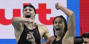 Les nageuses américaines exultent dimanche à Budapest.