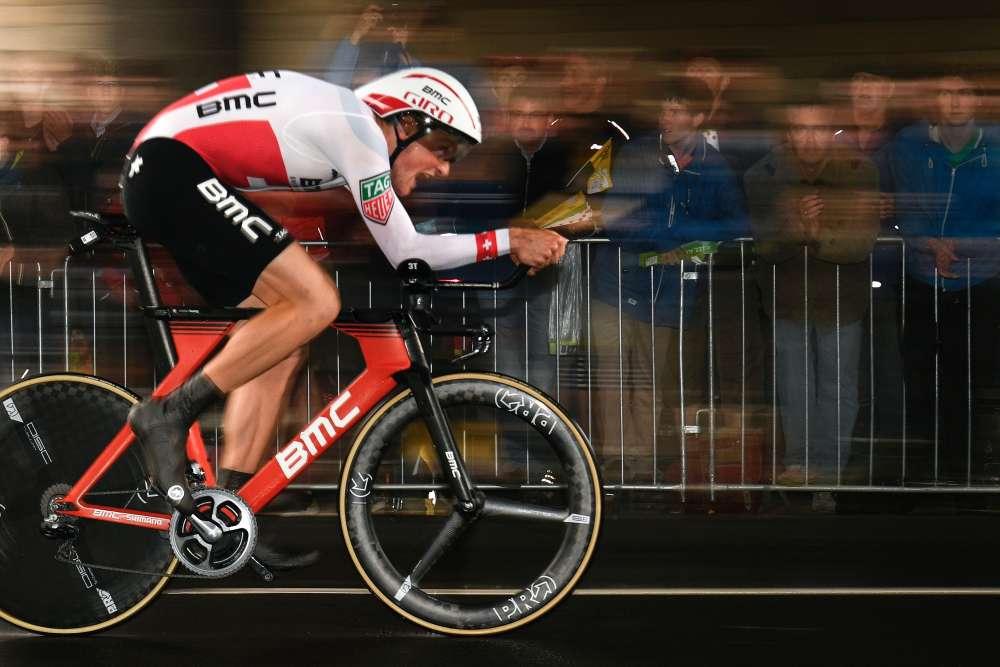 Le Suisse Stefan Küng lors de la première étape du Tour de France 2017, à Düsseldorf. Pour sa 104eédition, le Tour est parti de la ville de l'ouest de l'Allemagne, le 1erjuillet.