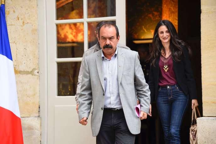 Philippe Martinez, secrétaire général de la CGT, à sa sortie de Matignon, lundi 24 juillet.